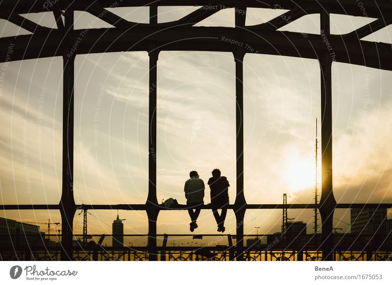 bridge seater Lifestyle Joy Happy Relaxation Calm Far-off places Sightseeing City trip Summer Sun Human being Masculine Young man Youth (Young adults) Man