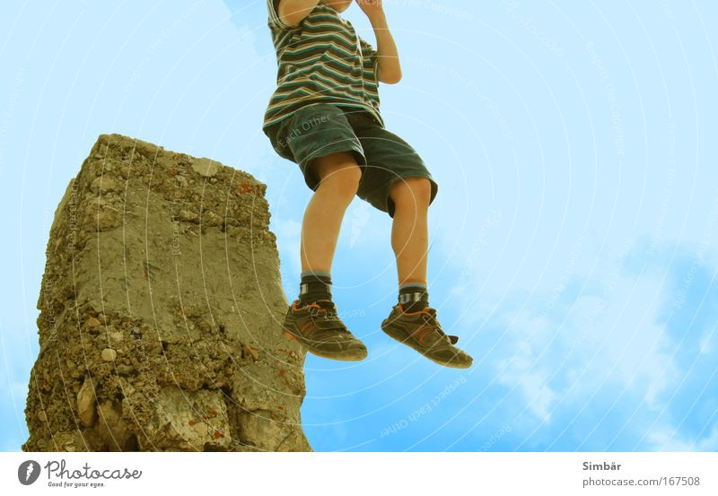 Human being Child Sky Sun Vacation & Travel Summer Clouds Playing Freedom Mountain Boy (child) Jump Legs Feet Weather Infancy