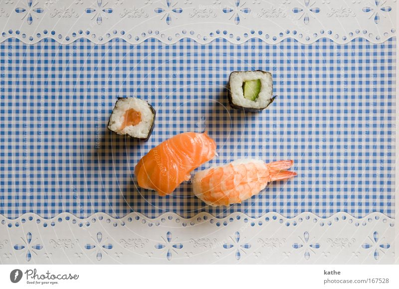 japan meets bavaria Colour photo Multicoloured Interior shot Close-up Day Contrast Bird's-eye view Food Fish Nutrition Dinner Banquet Finger food Sushi