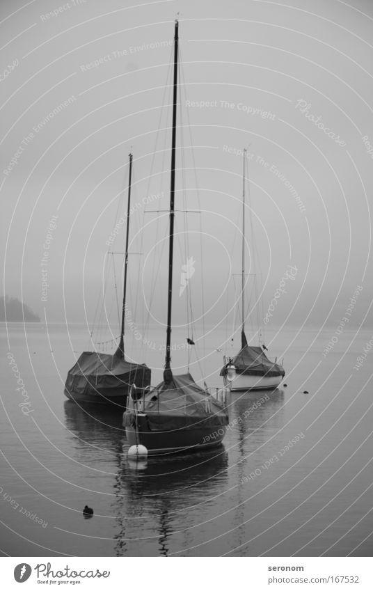 lonesome boats Black & white photo Exterior shot Morning Dawn Contrast Long shot Far-off places Freedom Sailing Emotions Moody Longing Wanderlust Hope Horizon