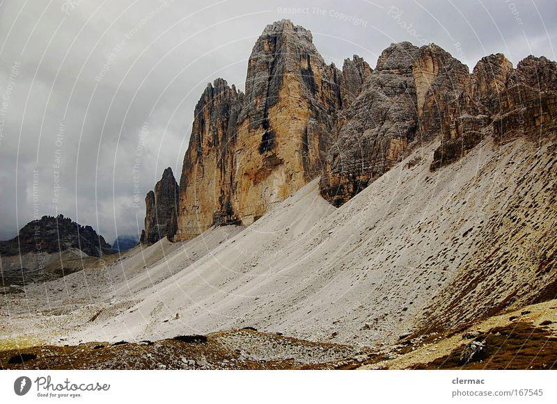 three merlons Colour photo Exterior shot Deserted Day Nature Landscape Rock Alps Mountain Peak Lanes & trails Far-off places