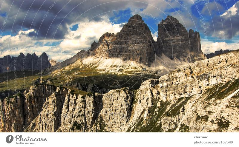 three merlons Colour photo Exterior shot Deserted Day Panorama (View) Forward Environment Nature Landscape Rock Alps Mountain Lanes & trails Far-off places