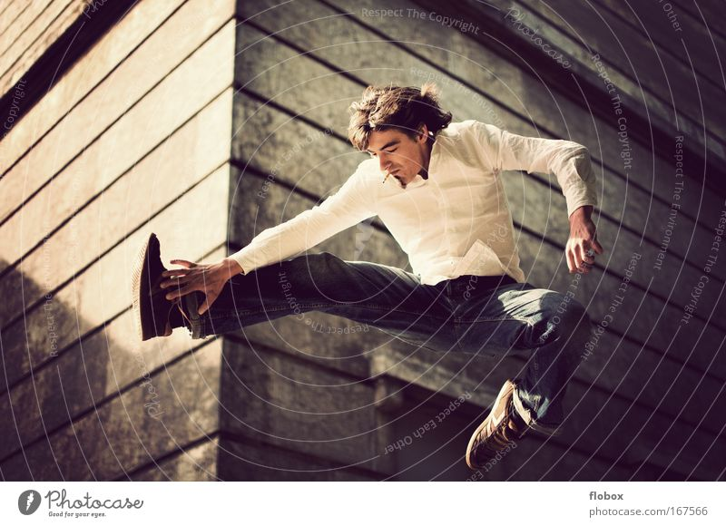 Man Youth (Young adults) Adults Jump Flying Dangerous Cool (slang) Threat Smoking Skateboarding Brave Cigarette Freak Salto Trick Thrill