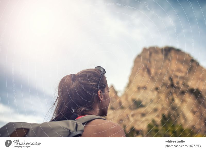 High up Feminine Young woman Youth (Young adults) Woman Adults Hiking Movement Sports Athletic Sportsperson Sports Training Mountain Peak Mountaineering