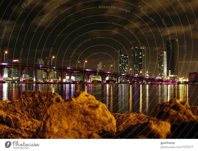 Miami City Architecture Bridge Luxury Skyline Night Port City