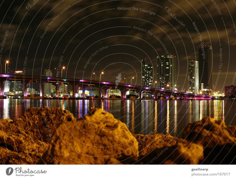 Miami Colour photo Exterior shot Deserted Night Town Port City Skyline Bridge Architecture Luxury