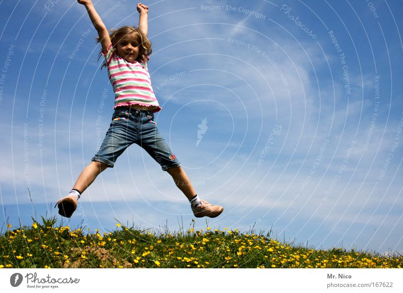 X Exterior shot Hiking Girl Nature Sky Beautiful weather Grass Meadow Hill T-shirt Movement Playing Jump Joy Happiness Joie de vivre (Vitality) Spring fever