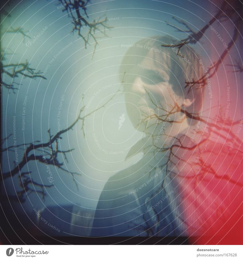 tube. Human being Man Youth (Young adults) Tree Blue Red Adults Masculine Branch Friendliness Shirt Smiling Lomography Double exposure Medium format