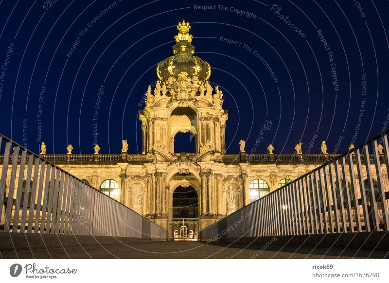 View of the Zwinger in Dresden at night Vacation & Travel Tourism Capital city Old town Bridge Building Architecture Tourist Attraction Historic Yellow Culture