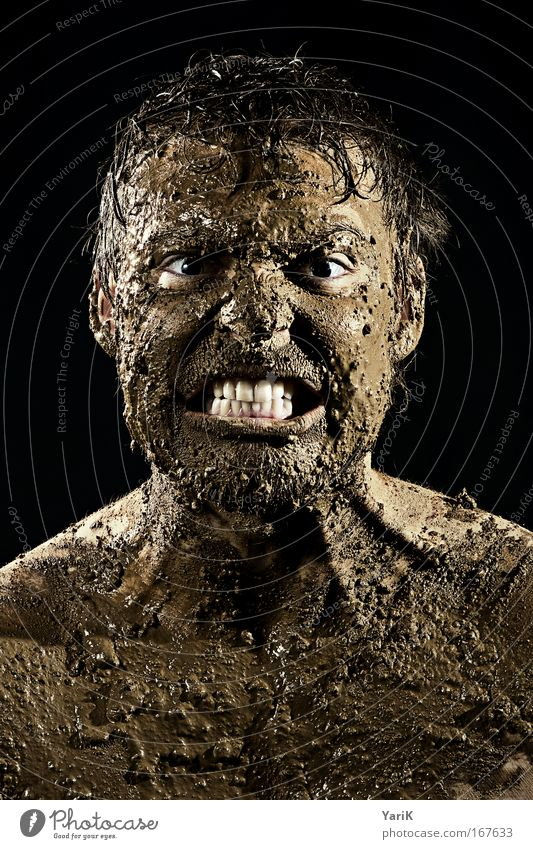 Human being Man Adults Face Eyes Dark Emotions Head Portrait photograph Brown Power Mouth Dirty Skin Wet Masculine