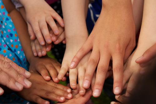 Hand Group Brown Together Skin Touch