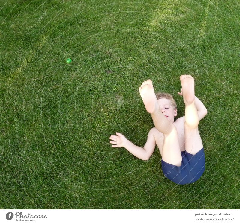 Human being Child Blue Green Summer Joy Playing Boy (child) Grass Healthy Infancy Blonde Skin Masculine Gymnastics Lawn