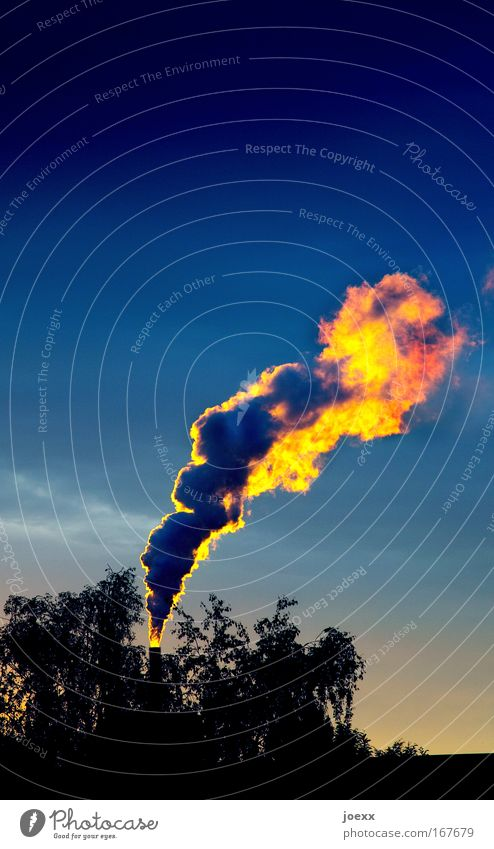smoke intoxication Colour photo Multicoloured Exterior shot Copy Space top Evening Twilight Energy industry Coal power station Industry Environment Nature Air