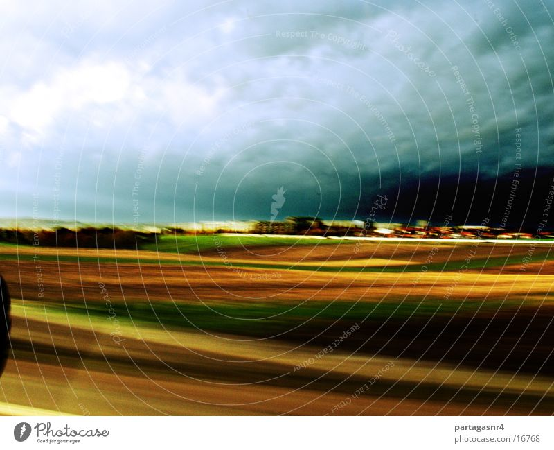 Picturesque prefabricated buildings Zwickau Storm Speed Motion blur picked up from the car