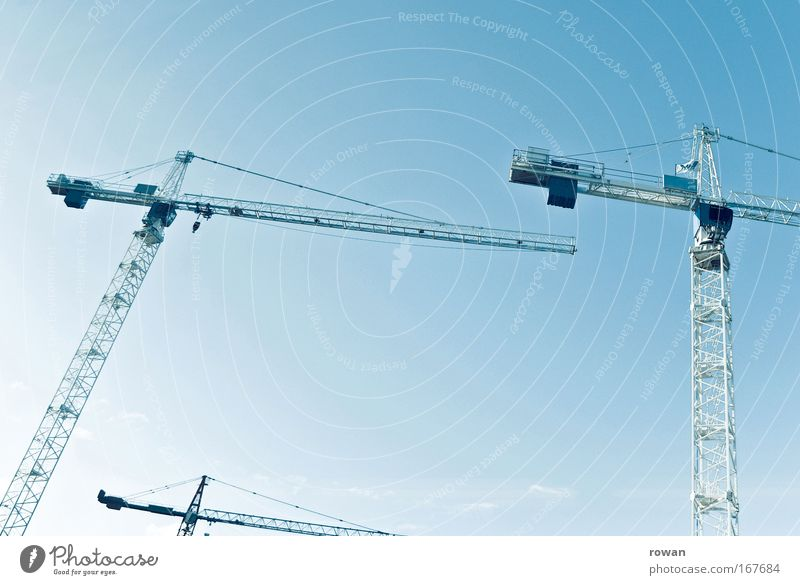 dance of cranes II Colour photo Neutral Background Build Crane Construction site Change Height Sky