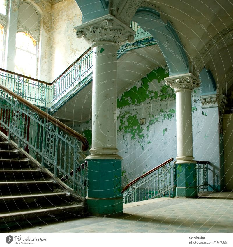 Old White Green Calm Loneliness Freedom Gray Building Architecture Stairs Manmade structures Ruin Column Banister Staircase (Hallway)
