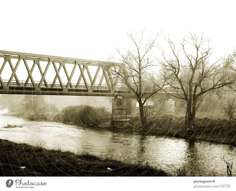 Railway bridge in the rain Autumn Rain River