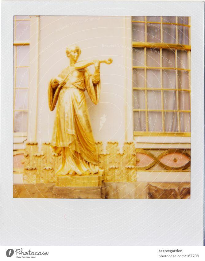 Woman Human being Summer Adults Feminine Window Wall (building) Architecture Building Wall (barrier) Park Music Art Gold Elegant