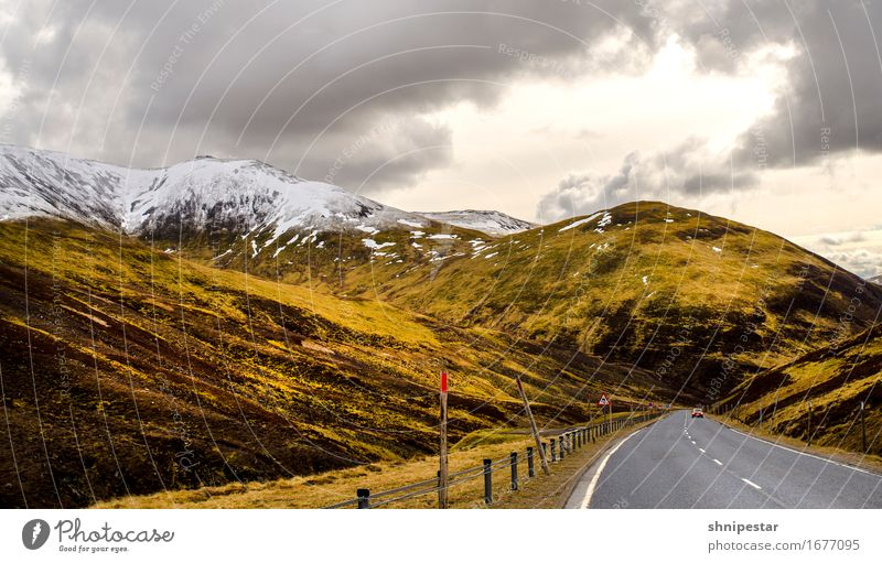 Highland Road Vacation & Travel Tourism Adventure Far-off places Mountain Hiking Climbing Mountaineering Nature Landscape Sky Clouds Sun Weather Snow Highlands
