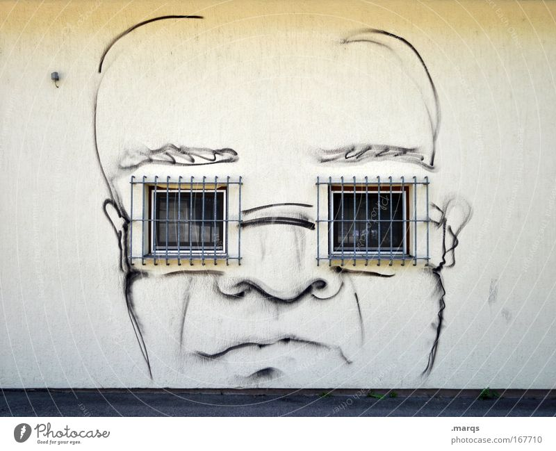 spectacle wearers Colour photo Subdued colour Exterior shot Copy Space top Central perspective Style Design Masculine Head Face 1 Human being Window Eyeglasses