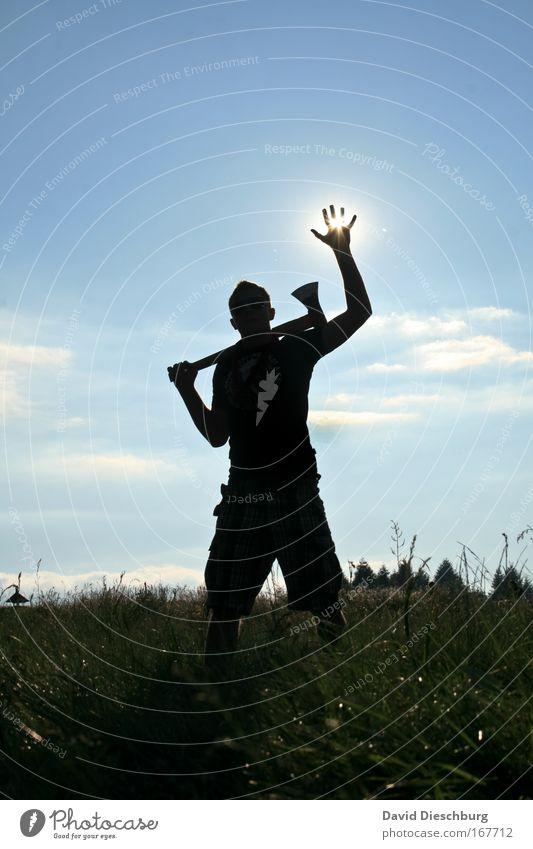 Human being Nature Man Blue Hand Summer Plant Sun Clouds Black Adults Meadow Grass Arm Masculine Fingers