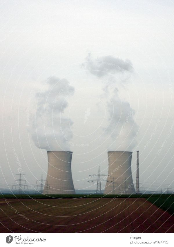 cloud factory Energy industry Nuclear Power Plant Energy crisis Clouds Climate Climate change Field Tower Large Electricity pylon Cooling tower Steam