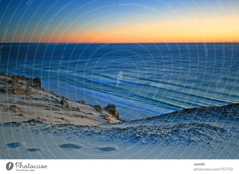 Nature Water Beautiful Ocean Blue Beach Calm Yellow Landscape Waves Time Sunset Footprint Beach dune Beautiful weather Australia