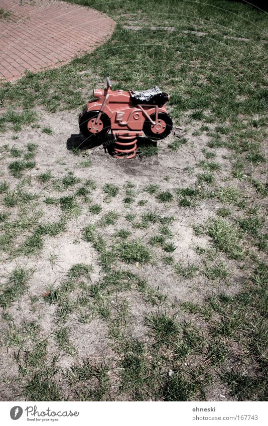Old Red Joy Playing Contentment Happiness Retro Driving Lawn Motorcycle Racecourse Engines Playground To swing Rebellious Children's game