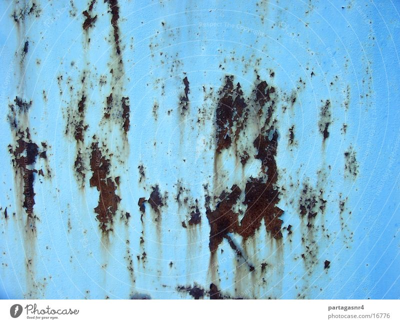 Background, rusty sheet steel, light blue Background picture Steel Things Rust Colour Derelict