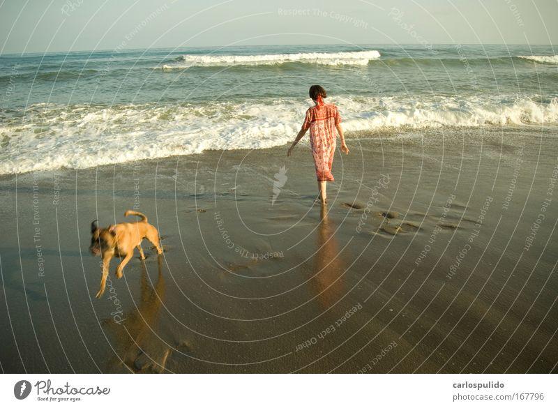 Colour photo Exterior shot Feminine Woman Adults 1 Human being Nature Beach Waves Mediterranean Andalucia Marbella Spain
