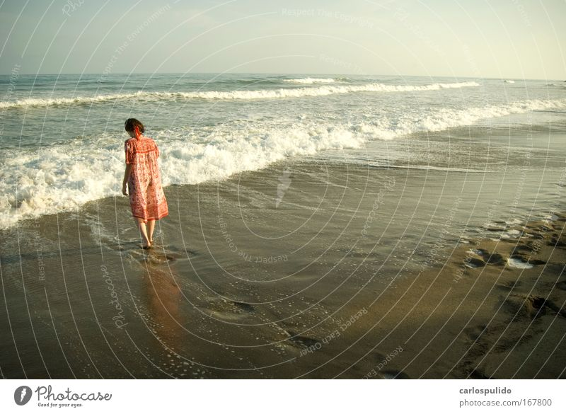 Colour photo Exterior shot Dawn Feminine Woman Adults Sand Waves Coast Beach Healthy Vacation & Travel Ocean Marbella Spain