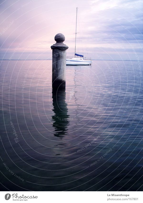 Blue Water Calm Landscape Lake Dream Horizon Watercraft Contentment Free Esthetic Europe Infinity Harbour Italy Longing