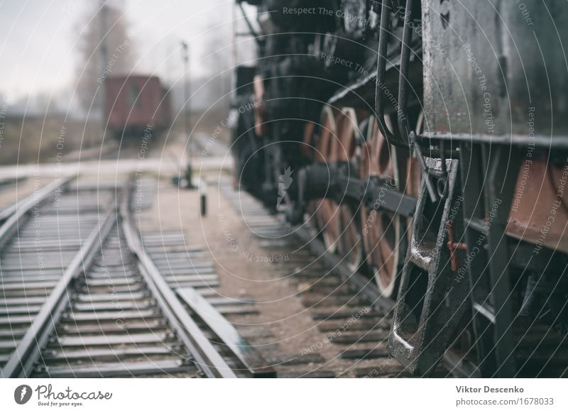 Steel stairs in Vintage steam train on wet rails Vacation & Travel Industry Hut Transport Vehicle Car Railroad Engines Wood Metal Old Retro White Station