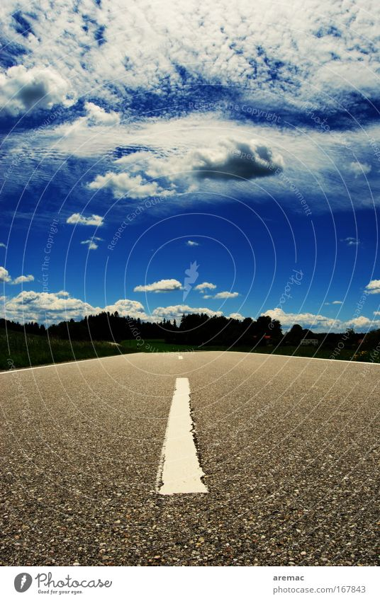 Sky Blue Summer Clouds Street Gray Trip Perspective Driving Traffic infrastructure Edge of the forest Marker line