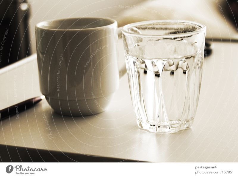 Water glass and cup Still Life Classic Glass Crockery Sepia