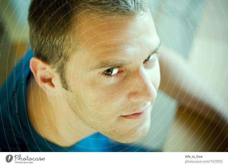 my most beautiful encounter Colour photo Interior shot Copy Space right Day Shallow depth of field Portrait photograph Looking Looking into the camera Upward