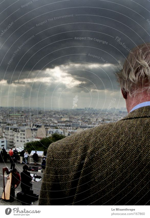 Human being Man Blue Autumn Senior citizen Gray Sadness Dream Back Esthetic Stand Europe Might Uniqueness Target Longing