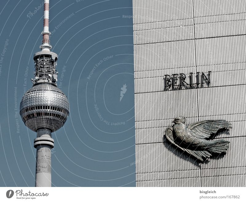 Berlin Postcard Subdued colour Exterior shot Deserted Day Germany Europe Capital city Downtown Berlin TV Tower Tourist Attraction Landmark Alexanderplatz Blue