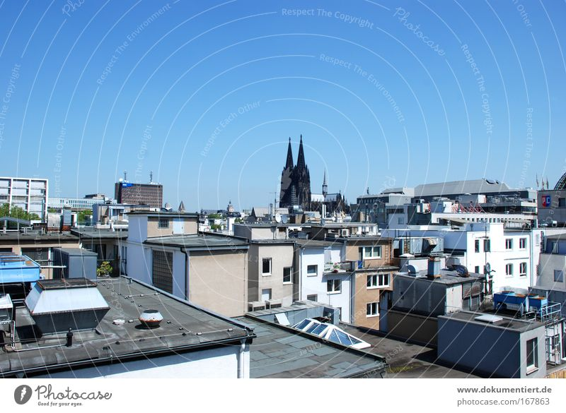 Cologne View Colour photo Exterior shot Deserted Copy Space top Neutral Background Day Sunlight Town Downtown Old town Skyline House (Residential Structure)