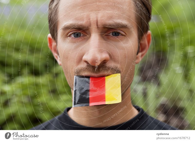 Human being Youth (Young adults) Young man 18 - 30 years Adults Life To talk Germany Mouth Soccer German Flag Society Opinion Politics and state Competition