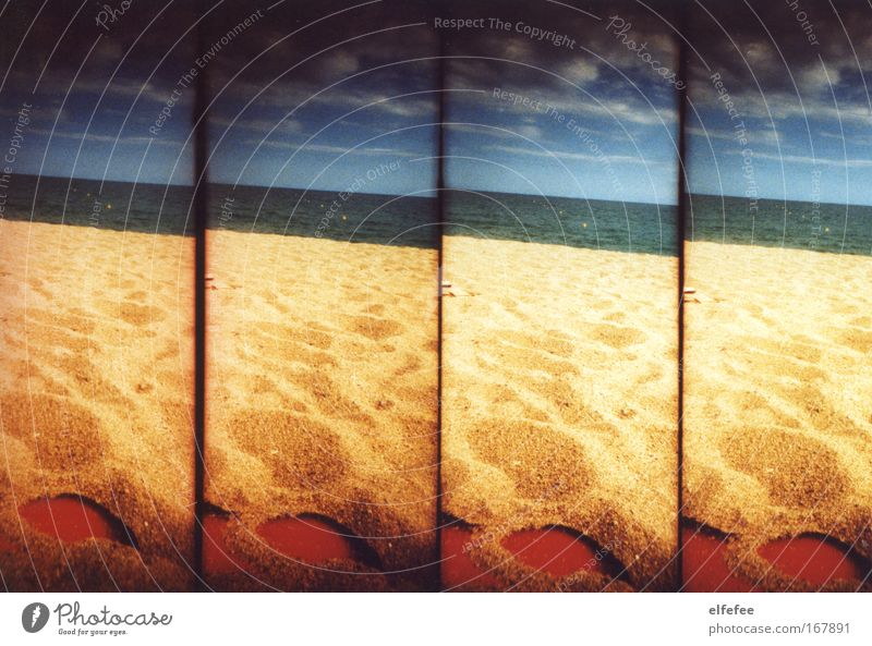 sandy beach. Colour photo Exterior shot Lomography Holga Deserted Day Contrast Sunlight Sunbeam Nature Landscape Sand Sky Clouds Horizon Summer Climate