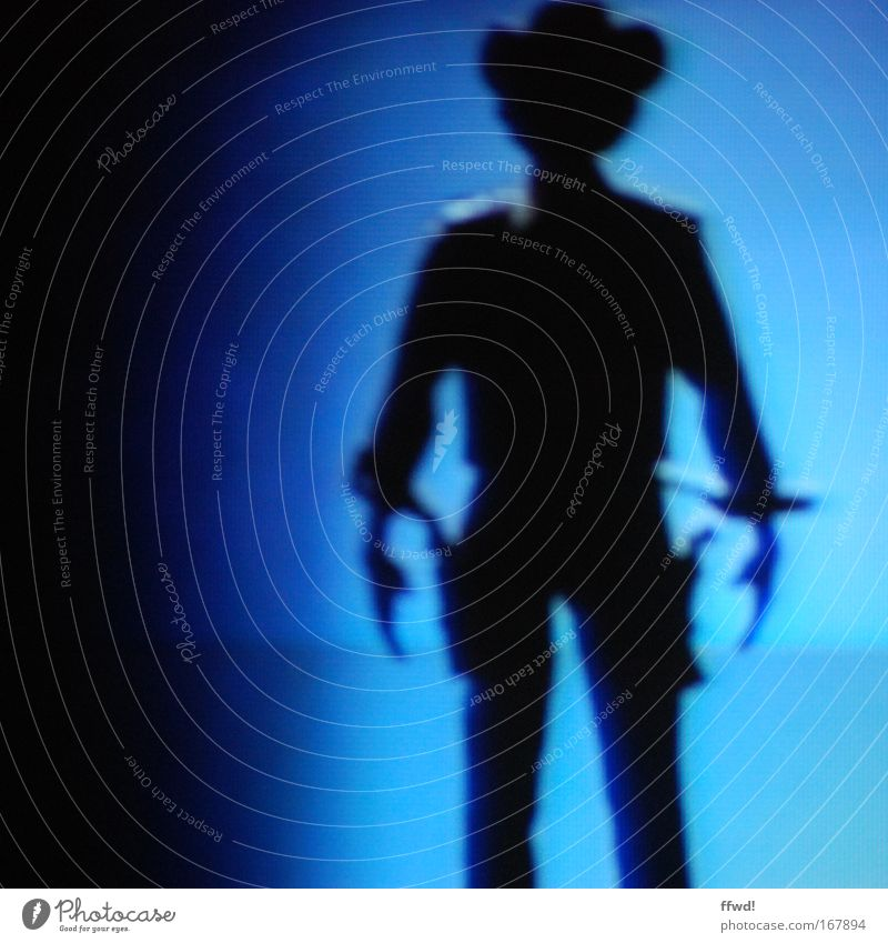 highnoon at three-quarters of a ten. Colour photo Evening Night Artificial light Shadow Silhouette Blur Central perspective Front view Masculine Man Adults 1