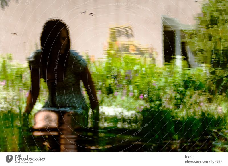 haiku Colour photo Day Reflection Human being Young woman Youth (Young adults) Nature Water Beautiful weather Plant Flower Grass Bushes Garden Pond Insect