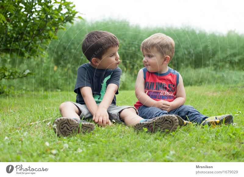 Human being Child Nature Plant Joy Life Love Spring Meadow Boy (child) Family & Relations Happy Garden Together Friendship Infancy