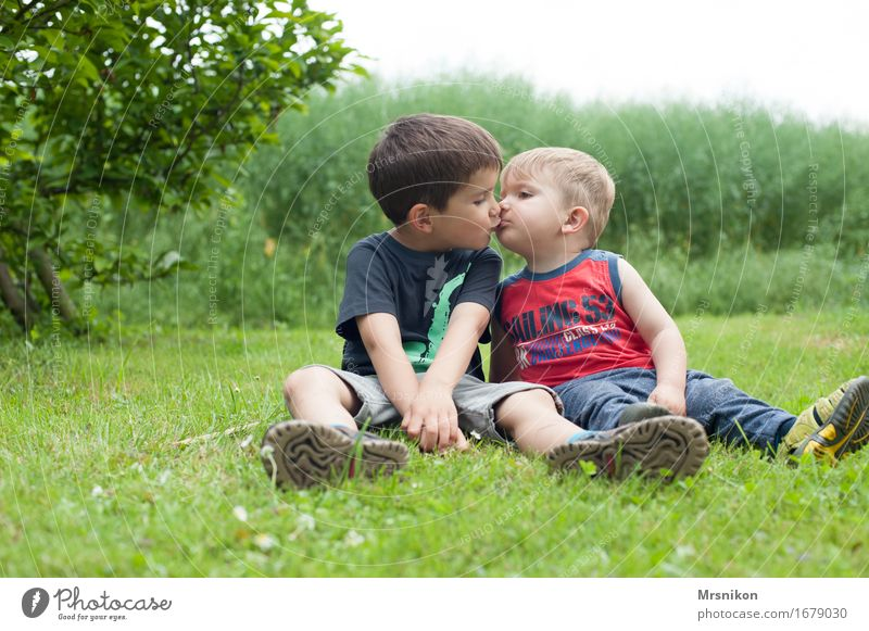 Human being Child Joy Life Love Emotions Meadow Boy (child) Happy Garden Field Infancy Happiness Joie de vivre (Vitality) Warm-heartedness Kissing