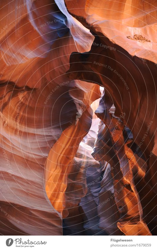 Upper Antelope Canyon [13] Tourism Trip Hill Rock Mountain Stone Sand Touch Sharp-edged USA Americas Wall of rock Ledge Cervice Play of colours Blaze of colour