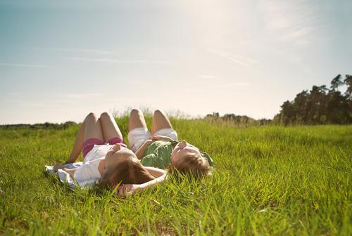 Dolce far niente Harmonious Well-being Relaxation Calm Sunbathing Summer vacation Child Girl Brothers and sisters Sister Friendship Infancy Youth (Young adults)