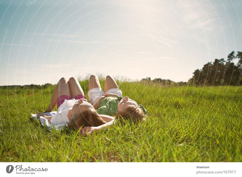 Family & Relations Vacation & Travel Human being Child Youth (Young adults) Girl Sun Calm Relaxation Meadow Spring Dream Warmth Friendship Nature Together