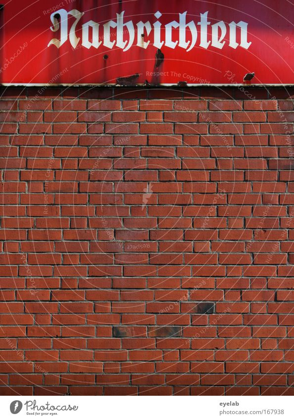 good Colour photo Exterior shot Detail Deserted Day Sunlight Central perspective Small Town House (Residential Structure) Building Brick Wall (barrier)