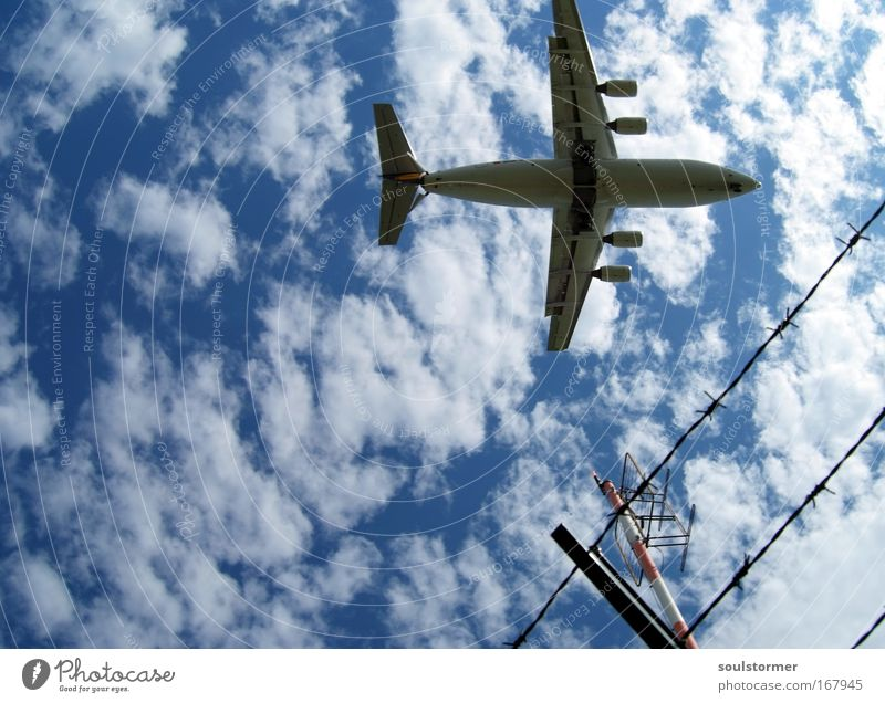 Sky Blue White Vacation & Travel Summer Joy Clouds Freedom Movement Flying Airplane Transport Aviation Infinity Airplane takeoff Fence